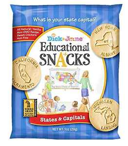 Educational Snacks I States & Capitals Featuring 50 States I Alaska to Wyoming (30) 1oz Bags | Sweet Vanilla Crackers ALL NATURAL, NON-GMO & NUT FREE