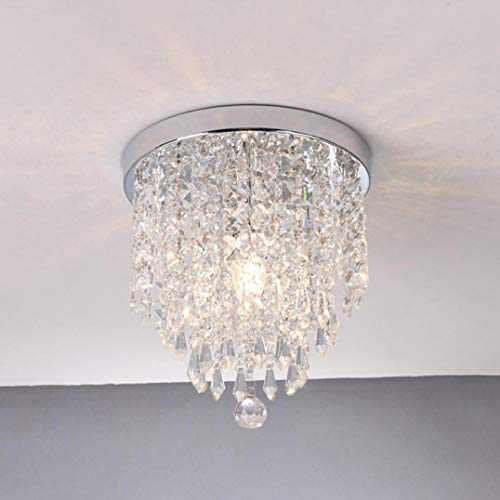 US Fast Delivered Modern Clear Crystal Beads 1 Lights Tassel Shaped Chandelier Crystal Ceiling Light, E129 Pendeant Ceiling Light for Bedroom Living Room