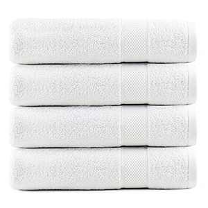 Infinitee Xclusives White Bath Towels Set Pack of 4 - 100% Ring Spun Cotton 600 GSM - Bath Towels 27 x 54 - Soft Feel, Quick Dry, Highly Absorbent Durable Towel Perfect for Daily Use (Brilliant White)