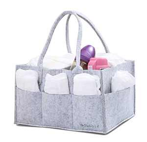 wawabox Diaper Caddy Organizer - Baby Gifts Diaper Bag, Nursery Storage Bin with Removable Divider, Diaper Basket for Newborn Kids, Felt Wipes Container Tote, Grey