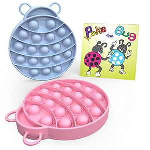 Poke-The-Bug Ladybug Bubble Popper Sensory Fidget Toys Pack for Squeeze and Smash | Blue and Pink Sensory Toy Bundle| 2 PC for Adults, kids, Grandkids, Parents and Family to Relieve Anxiety and Stress