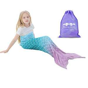 RIBANDS HOME Mermaid Tail Wearable Blanket 2021NEW Cozy Mermaid Tail Blanket for Kids and Teens Soft Flannel Fleece Cover with Fish Scale Tail – All Seasons Sleeping and Napping Coverlet (Ages 3-16)