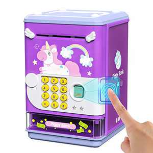 Deejoy Piggy Bank Toy Electronic Mini ATM Savings Machine with Personal Password & Fingerprint Unlocking Simulation - Music Box with Songs for Kids, Boys and Girls Age 3 4 5 6 7 8 Years