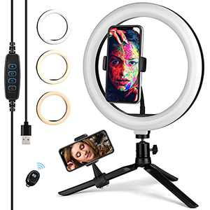 """VFMFM 10"""" Phone Ring Light with Stand and Phone Holder for Video Recording, Dimmable Desk Makeup LED Ring Light for Camera Photography"""