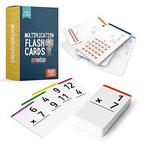 merka Multiplication Flashcards Learning Math Facts (Numbers 0 - 12) – 2nd - 6th Grade Math Flash Cards – Homeschool/Classroom EducationalGames – Set of 169 Cards