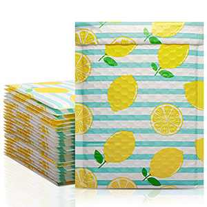 Metronic 6 x 10 Inch 25 Pack Bubble Mailers, Lemon Poly Bubble Mailer Cute Small Mailer,Bubble Envelopes,Padded Mailers for Shipping Jewelry,Lips,Cosmetic,DVD,Waterproof, Self-Seal Adhesive