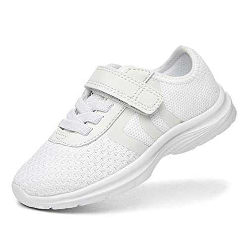 JIUMUJIPU Unisex-Child Toddler Shoes Sneakers - Black/White Little Kid Shoe/Gray Boys Running Shoes/Pink Girls Walking Shoe (White/White-0101-5, Numeric_7)