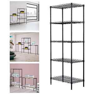 5 Tier Wire Shelving Unit,Changeable Heavy Duty Storage Metal Shelves,Garage Storage Rack, Steel Organizer Rack for Home Office (Black1)