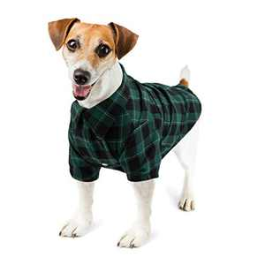 Hozz Classic Plaid Premium Cotton Dog T-Shirt Breathable and Comfortable Puppy Warm Cloth Gift Green&Black Plaid L