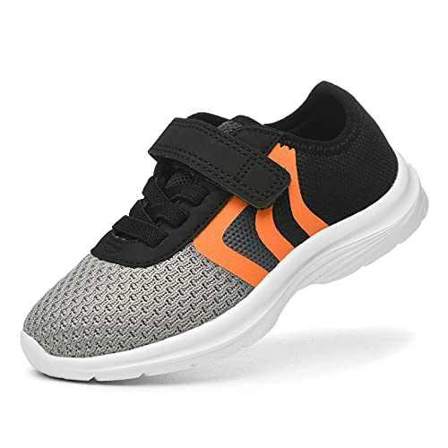 JIUMUJIPU Unisex-Child Toddler Shoes Sneakers - Black/White Little Kid Shoe/Gray Boys Running Shoes/Pink Girls Walking Shoe (Black/Gray/Orange/White-0101-10, Numeric_6)