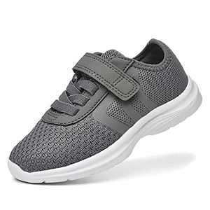 JIUMUJIPU Unisex-Child Toddler Shoes Sneakers - Black/White Little Kid Shoe/Gray Boys Running Shoes/Pink Girls Walking Shoe (Deep Gray/White-0101-12, Numeric_9)