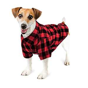 Hozz Classic Plaid Premium Cotton Dog T-Shirt Breathable and Comfortable Puppy Warm Cloth Gift Red&Black Plaid M