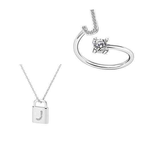 Women's Ring 925 Sterling Silver Letter Ring Adjustable Engagement Ring for Women Girls (J)