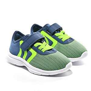 JIUMUJIPU Unisex-Child Toddler Shoes Sneakers - Black/White Little Kid Shoe/Gray Boys Running Shoes/Pink Girls Walking Shoe (Navy/Green/Fluorescent Green/White-0101-9, Numeric_8)