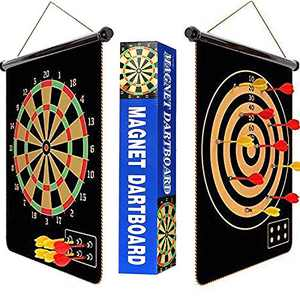 "【2021 Upgraded】 18"" Magnetic Dart Board for Kids with 6pcs Darts,Safe Indoor Outdoor Family Double Sided Dart Board Set,Christmas Birthday Gift"