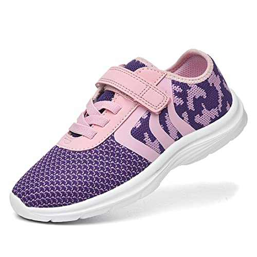 JIUMUJIPU Unisex-Child Toddler Shoe Running Sneakers - Little Kid Boys Girls Walking Shoes (Pink/Purple/White-0101-4, Numeric_11)