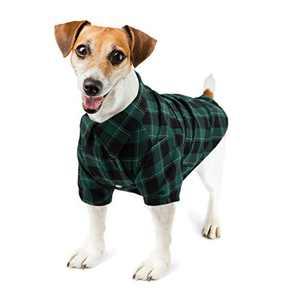 Hozz Classic Plaid Premium Cotton Dog T-Shirt Breathable and Comfortable Puppy Warm Cloth Gift Green&Black Plaid M