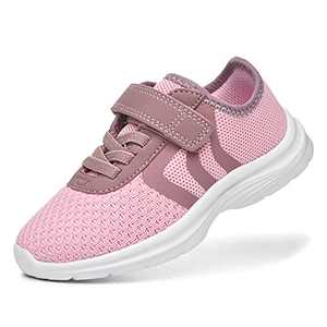 JIUMUJIPU Unisex-Child Toddler Shoes Sneakers - Black/White Little Kid Shoe/Gray Boys Running Shoes/Pink Girls Walking Shoe (Pink/Light pink/White-0101-1, Numeric_7)