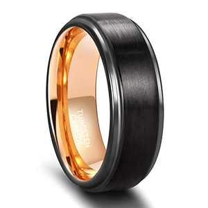 SHINYSO 8mm Tungsten Carbide Rings for Men Step Edge Brushed Finish Wedding Band Size 8.5