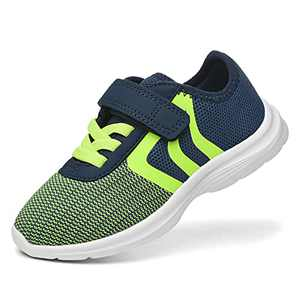 JIUMUJIPU Unisex-Child Toddler Shoe Running Sneakers - Little Kid Boys Girls Walking Shoes (Navy/Green/Fluorescent Green/White-0101-9, Numeric_7)