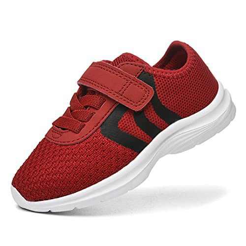 JIUMUJIPU Unisex-Child Toddler Shoes Sneakers - Black/White Little Kid Shoe/Gray Boys Running Shoes/Pink Girls Walking Shoe (Red/Black/White-0101-8, Numeric_8)