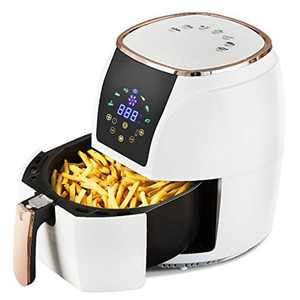 Air Fryer with One-Touch Digital Display Healthy Oil Free & Low Fat Cooking Chip Fryer Oven Auto-Off Safety Sensors with Air Circulation System Nonstick Basket 3.5L (White)