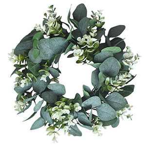 White Artificial Wreath Eucalyptus Loosestrife Ring Pastoral Wedding Door Decoration Outdoor Window Wreath Easter (Green)