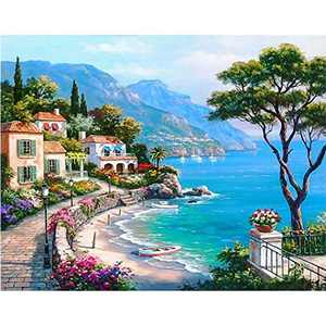 DIY 5D Diamond Painting Kits for Adults & Kids, Colorful Full Drill Crystal Rhinestone Diamond Embroidery Arts Craft Pictures Paint by Number for Home Wall Decor, Seaside Town 12x16inch
