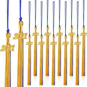 16 Pieces 2021 Graduation Tassels Graduation Cap Tassel with 2021 Year Academic Charm Ceremonies Accessories Graduation Tassel Gold Date Pendants Decorations for Party Supplies (Blue and Gold)