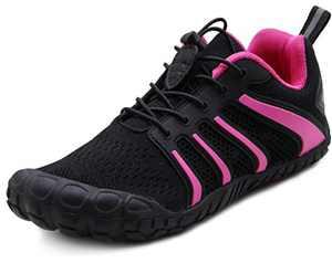 Oranginer Women Minimalist Barefoot Shoes for Mens Zero Drop Five Finger Toe Workout Shoes Black Rose Men Size 5.5 Women Size 6