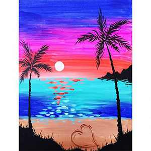 DIY 5D Diamond Painting Kits for Adults & Kids, Colorful Full Drill Crystal Rhinestone Diamond Embroidery Arts Craft Pictures Paint by Number for Home Wall Decor, Beach 12x16inch