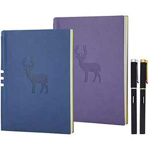 A5 Journal with Pens Set, A5 Lined Notebook Planner Travel Journal Leather Notebook for Girls Women,of A5 Ruled Notebook for Writing- 70 Sheets- 2 Pack, with 2 Black Gel Pens