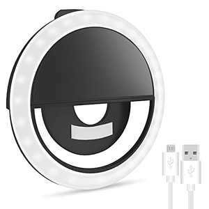 Selfie Ring Light for iPhone & Android, Rechargeable Portable Clip-on Selfie Light for Smart Phone Camera, Girls Makeup, Zoom, TIK tok, YouTube(Black)…