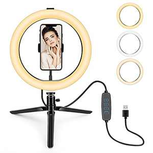 Selfie Ring Light 10 inches with Tripod Stand & Phone Holder for Live Broadcast/Makeup/YouTube Video, dimmable Phone Ring Light for Photography, Shooting with 3 Light Modes & 10 Brightness Levels