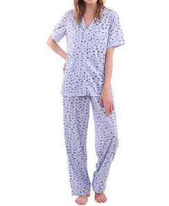 MissShorthair Short Sleeve Women Pajamas Set Button Down, Soft Pjs Print Comfy Sleepwear For Women Blue
