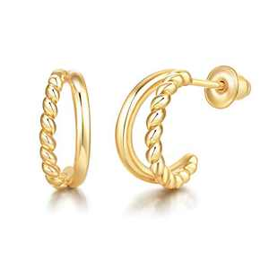 Split Hoop Earrings Twisted Huggies Hypoallergenic 14K Gold Tone for Women Girls