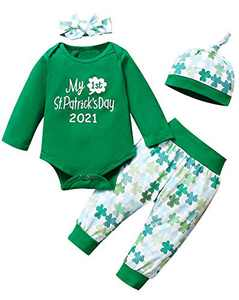 4Pcs Outfit Set Clover Baby Boy Girls My First St. Patrick's Day Pant Clothing Set (Green02, 0-3 Months)