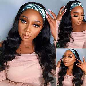 Body Wave Headband Wig No Gel Synthetic Long Wavy Wigs for Black Women (22 inch) Natural Color Wigs with Headbands Attached