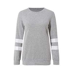 TOPIA STAR 2021 Womens Crewneck Sweatshirts Short/Long Sleeve T-Shirt Tunic Tops (Light Gray, M)