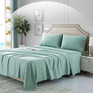 Green Full Sheet Set -4 Piece Hotel Bed Sheets-Deep Pocket Full Sheets-Microfiber 1800 Thread Count Sheet Sets for Full Size Bed