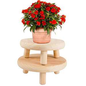 2 Pack Mini Solid Wooden Stool Plant Display Stands- Rustic Natural Wood Flower Pot Potted Planter Supports in 2 Sizes Decorative Desktop Plant Bonsai Holders Table Centerpiece for Home Office Decors