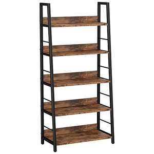IRONCK Industrial Bookshelves and Bookcases Ladder Shelf Storage Shelves Rack Shelf Unit, Vintage Home Office Furniture for Bathroom, Living Room, Rustic Brown (5 Tier)