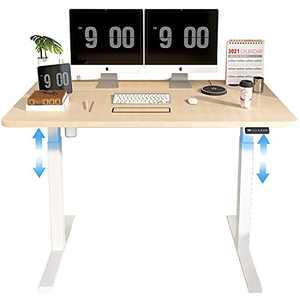 MAIDeSITe Height Adjustable Electric Standing Desk with Ergonomic Memory Controller, 48 x 24 Inches Sit Stand Table, White Frame/Oak Top