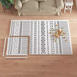 Extra Large Baby Play Mat - 4FT x 6FT Foam Puzzle Floor Mat for Kids & Toddlers (Mixed Marks White/Black)