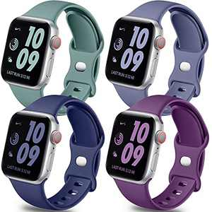 Getino Band Compatible with Apple Watch 40mm 38mm 44mm 42mm for Women Men, Stylish Durable Soft Silicone Sport Bands for iWatch SE & Series 6 5 4 3 2 1, 4 Pack, Purple, Midnight Blue, Blue Gray, Pine Green, M/L
