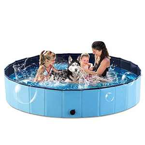 EVARY Foldable Swimming Pool for Dogs, 63'' Slip-Resistant Kiddie Pool, Plastic Pet Dog Pool, Dog Pet PVC Bathing Tub Bath Pool for Small Large Dogs