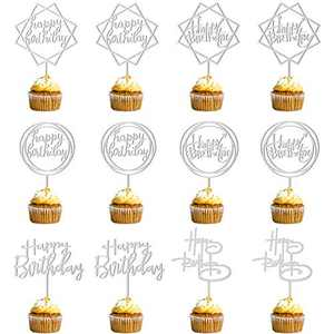 12 Pack Happy Birthday Cake Topper, Acrylic Birthday Cupcake Toppers for Cake Decorations Birthday Party Supply (Silver)