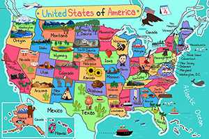 Jigsaw Puzzles 1000 Pieces for Adults-USA Map