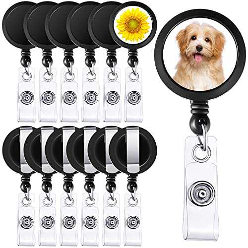 12 Pieces Sublimation Badge Reel Blank Retractable Badge Holder DIY Nurse Badge Key Card Name Tag Holder with Belt Clip for Office and School, Black