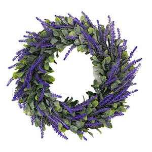 White Artificial Wreath Eucalyptus Loosestrife Ring Pastoral Wedding Door Decoration Outdoor Window Wreath Easter (Purple -1)
